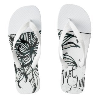 Rachel Doodle Art - Just Chill Flip Flops