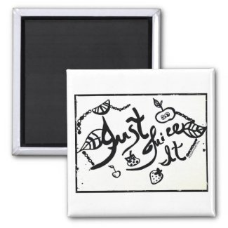 Rachel Doodle Art - Just Juice It 2 Inch Square Magnet
