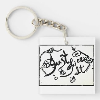 Rachel Doodle Art - Just Juice It Double-Sided Square Acrylic Keychain