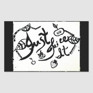 Rachel Doodle Art - Just Juice It Rectangular Sticker