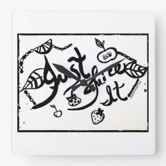 Rachel Doodle Art - Just Juice It Square Wallclocks