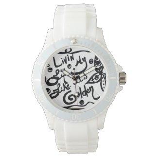 Rachel Doodle Art - Livin My Life Like It's Golden Wrist Watch