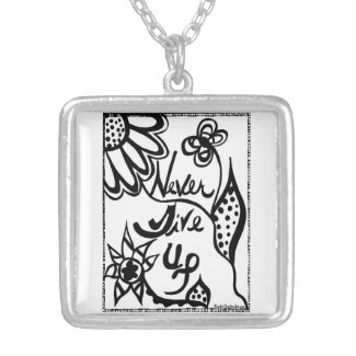 Rachel Doodle Art - Never Give Up Square Pendant Necklace