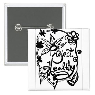Rachel Doodle Art - Project Healthy 2 Inch Square Button