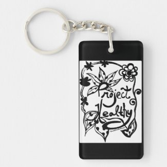 Rachel Doodle Art - Project Healthy Single-Sided Rectangular Acrylic Keychain
