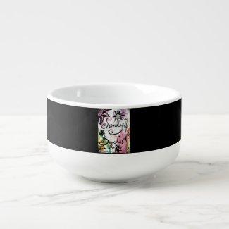 Rachel Doodle Art - Sandy Beaches Soup Bowl With Handle