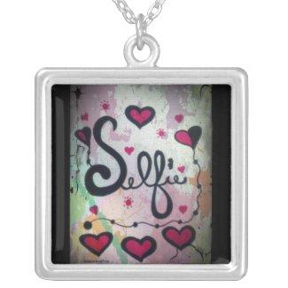 Rachel Doodle Art - Selfie Square Pendant Necklace
