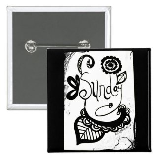 Rachel Doodle Art - Sunday 2 Inch Square Button