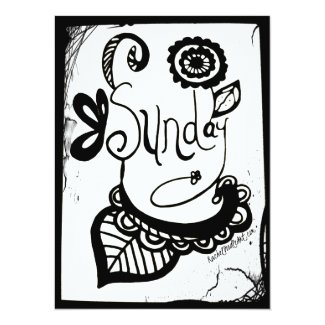Rachel Doodle Art - Sunday 5.5x7.5 Paper Invitation Card