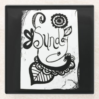 Rachel Doodle Art - Sunday Glass Coaster