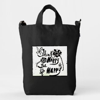 Rachel Doodle Art - Think Happy Be Happy Duck Canvas Bag