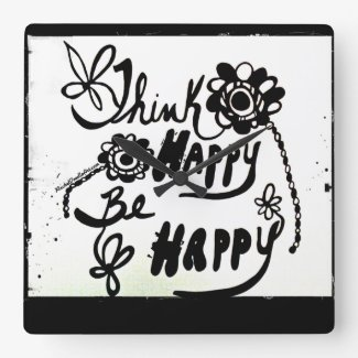 Rachel Doodle Art - Think Happy Be Happy Square Wallclock