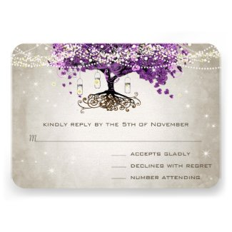 Radiant Orchid Purple Heart Leaf Tree Wedding RSVP Announcement