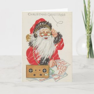 Radio Santa Christmas Card card