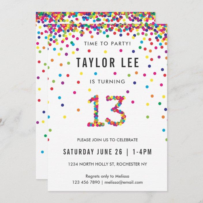 rainbow 13 year old birthday party 13th birthday invitation zazzle com