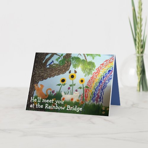 Rainbow Bridge Male Cat Sympathy Card