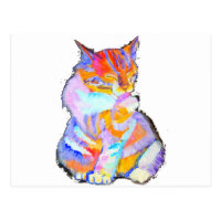 Rainbow Cat Postcard