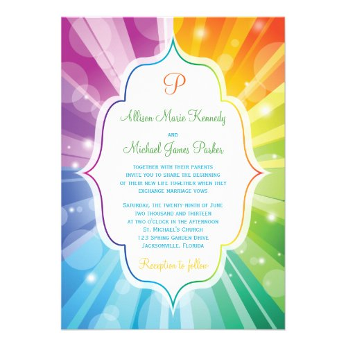 Rainbow Colors Striped Sunburst Wedding Invitation