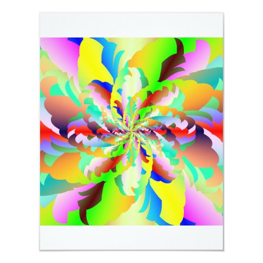 "Rainbow Fire Flower Signature Matte 4.25"" X 5.5"" Invitation Card"