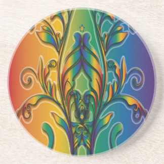 Rainbow Floral Abstract Beverage Coaster