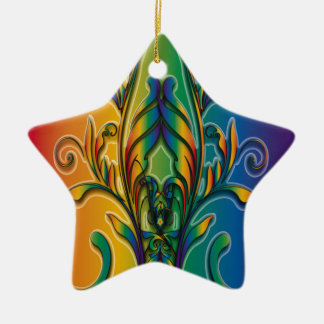 Rainbow Floral Abstract Christmas Tree Ornament