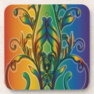 Rainbow Floral Abstract Coasters