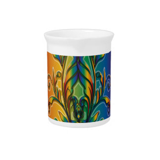 Rainbow Floral Abstract Drink Pitcher
