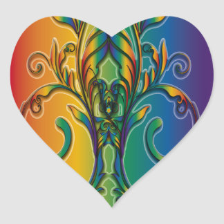 Rainbow Floral Abstract Heart Sticker