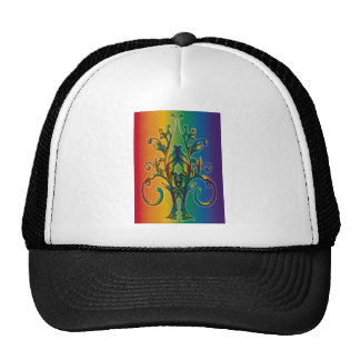 Rainbow Floral Abstract Mesh Hats