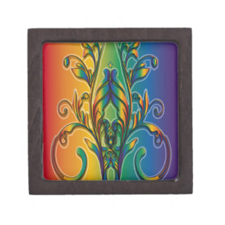 Rainbow Floral Abstract Premium Keepsake Box