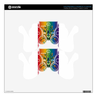 Rainbow Floral Abstract PS3 Controller Decal