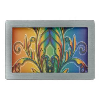 Rainbow Floral Abstract Rectangular Belt Buckle