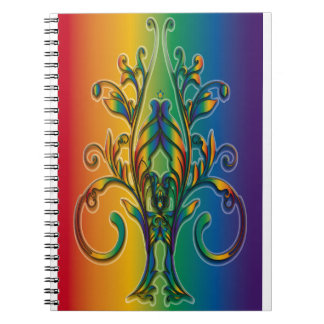 Rainbow Floral Abstract Spiral Note Book
