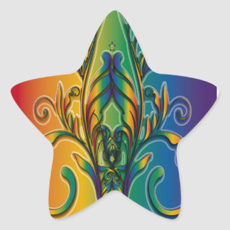Rainbow Floral Abstract Star Sticker