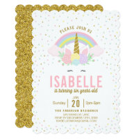 Rainbow Glitter Unicorn Birthday Party Invitation