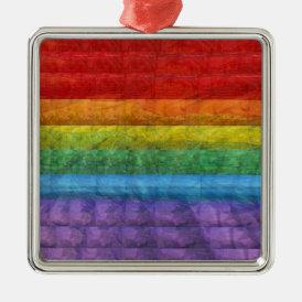 Rainbow Mosaic Gay Pride Flag Metal Ornament