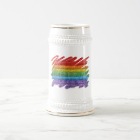 Rainbow Mosaic Gay Pride Flag (Paintbrush) Beer Stein
