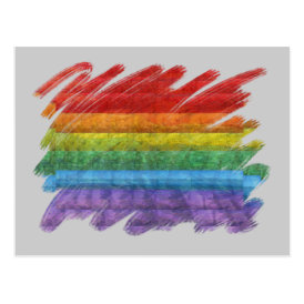 Rainbow Mosaic Gay Pride Flag (Paintbrush) Postcard