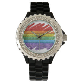 Rainbow Mosaic Gay Pride Flag (Paintbrush) Wristwatch