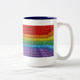 Rainbow Mosaic Gay Pride Flag Two-Tone Coffee Mug