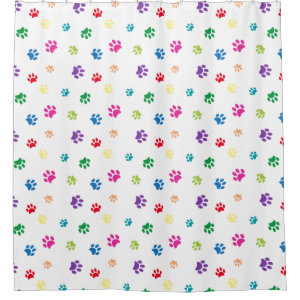 Rainbow Painted Paw Prints Shower Curtain
