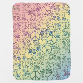 Rainbow Peace Symbol Design Pattern Receiving Blanket