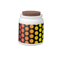 Rainbow Polka Dots Black Candy Jar on Zazzle