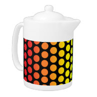 Rainbow Polka Dots Black teapot on Zazzle