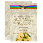 Rainbow Ribbon Double Hearts Wedding Invite 5X7