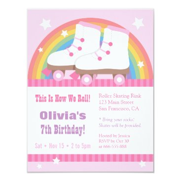 Rainbow Roller Skating Birthday Party Invitations