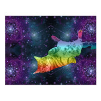Rainbow Space Kitty Cat in Galaxy Postcard
