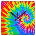Rainbow Spiral Tie Dye Clock