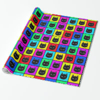 Rainbow Square Cat Pattern Wrapping Paper
