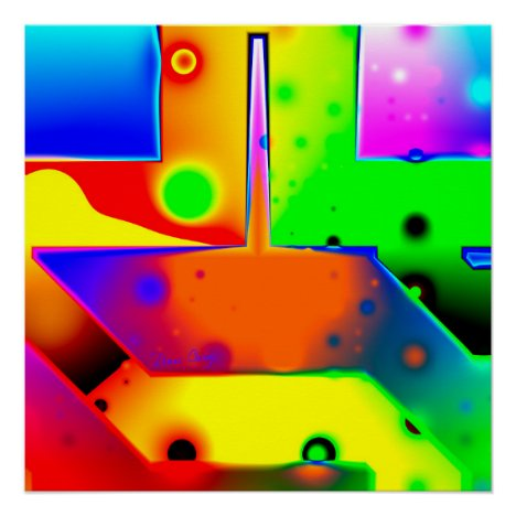 Rainbow Step, Abstract Fractal Door into Fantasy Poster